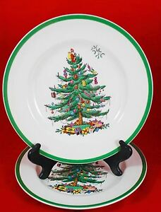 SPODE-Christmas-Tree-10-75-DINNER-PLATES-MADE-in-ENGLAND-S3324-Set-of-2