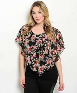 Romantic-Dressy-Black-Pink-Floral-Lined-Chiffon-Plus-Party-Club-Tunic-Top-XL-3XL
