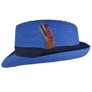 Caricamento dell immagine in corso blu-estate-paglia-cappello-di-feltro -fedora-Cappello- 85f7b069b012