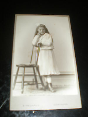 Cdv photograph girl ribbon boots by Neuhaus at Dortmund Germany 1900s Ref 508(1)