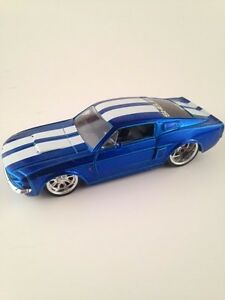 Details about 1967 Shelby Ford Mustang GT-500 by Jada Toys 1/32 Blue w/  White Stripes