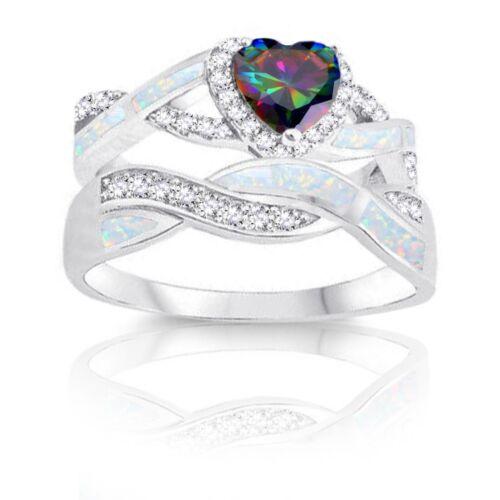 Infinity Mystic Rainbow Topaz White Opal w Inlay CZ Engagement Silver Ring Set