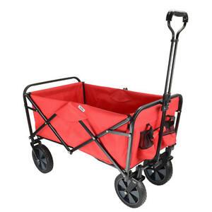 Folding Beach Outdoor Wagon Collapsible Utility Garden Shopping Cart - Red