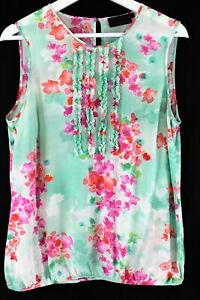 David-Lawrence-green-floral-silk-sleeveless-frill-front-blouse-as-new-12
