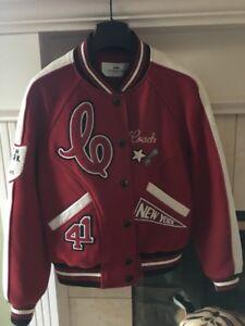 Coach 1941 Chelsea Varsity Leather Jacket Red White Black Size S
