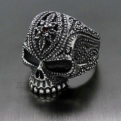 Mens Gothic Skull Cubic Zirconia 316L Stainless Steel Biker Ring