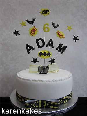 PERSONALISED BATMAN, SUPERHERO BIRTHDAY CAKE TOPPER ANY NAME AND AGE
