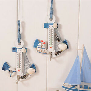 Wood-Anchor-Thermometer-Craft-Art-Wall-Hanging-Hook-Gauge-Shell-Nautical-DecorYN