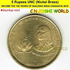 2010 INCOME TAX 150 YEARS OF BUILDING INDIA CHANAKYA Nic-Brass Rs 5 UNC # 1 Coin
