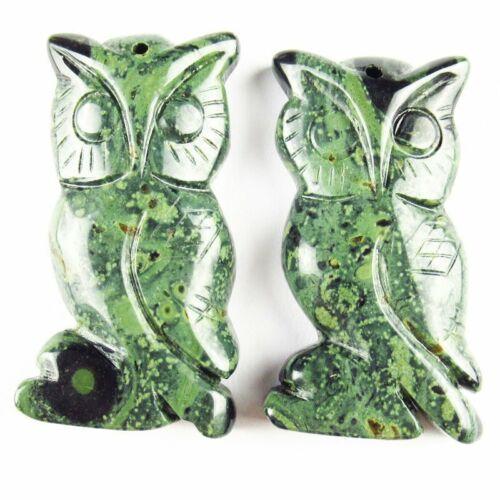 100/% Natural Kambaba Jasper Carved Owl Pendant Bead 48x24x8mm 20g A-366DP