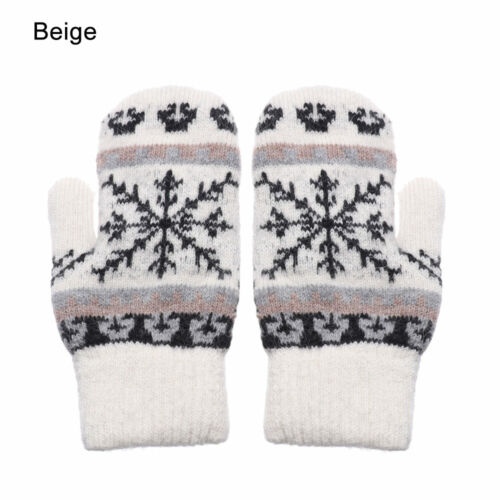 Thick Warm Soft Mittens Imitation Cashmere Knitted Gloves Snowflake Pattern