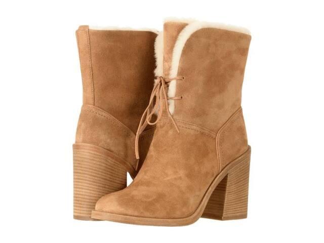 8818189e6f4 UGG Jerene Chestnut Brown BOOTS Size 9 Block Heel Ankle
