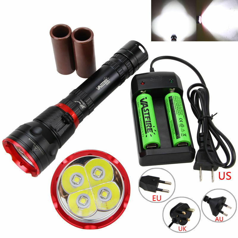 Rechargeable 15000LM 4XM-L2 LED Scuba Flashlight Light  218650 26650 Torch New