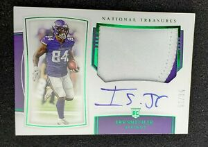 IRV-SMITH-JR-2019-National-Treasures-JERSEY-AUTO-green-84-Vikings-RC-TRUE-RPA