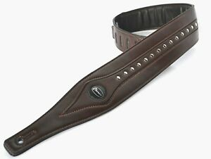 Guitar Strap Electric Acoustic or Bass Dark Brown Leather Studded and Padded