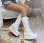 Womens-Punk-Platform-Wedge-High-Heel-Mid-Calf-Goth-Lace-Up-Boots-Round-Toe-Shoes thumbnail 8