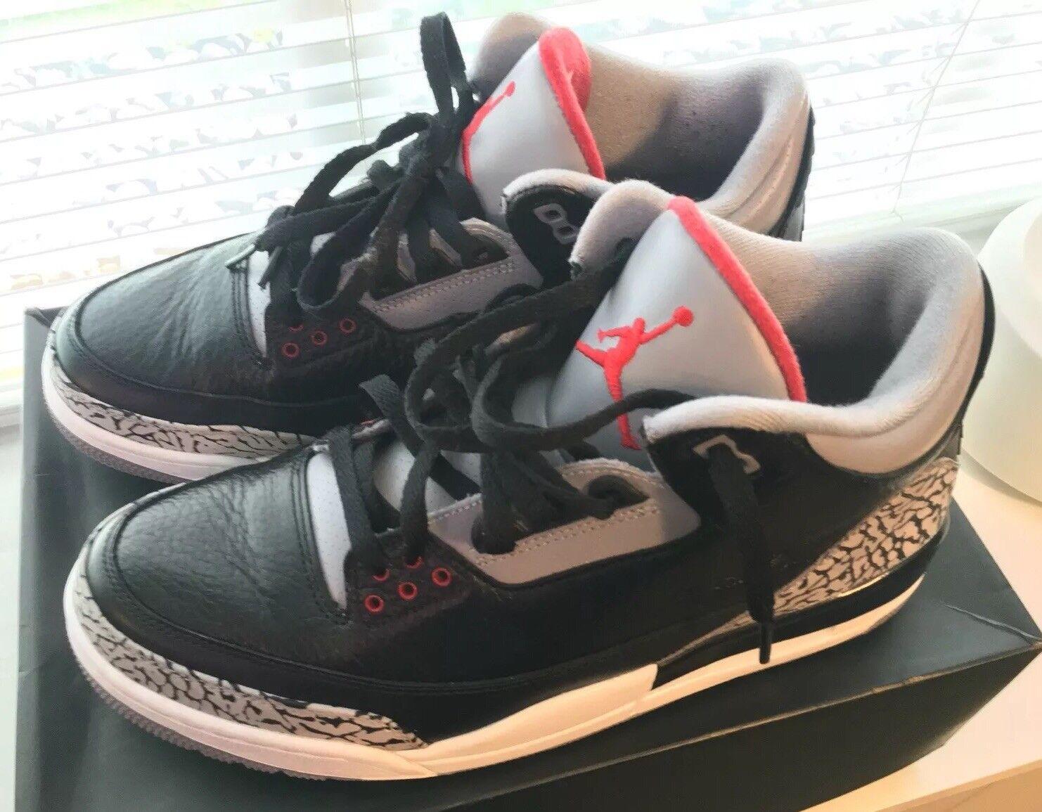 Nike Air Jordan 3 Black Cement 2011 Black Red Grey 136064-010 Men's Size 10.5