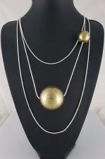 Matt Silver 3 Rows  Snake Chain Brass Sphere Layered Lagenlook Long Necklace