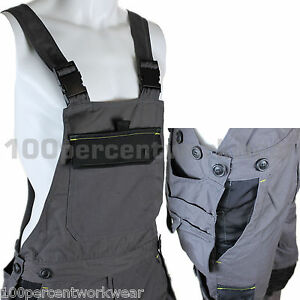 Delta-Plus-Panoply-M5SAL-Mens-Bib-and-Brace-Overalls-Dungarees-Trousers-Grey-New
