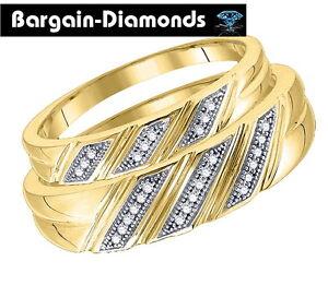 Image Is Loading Diamond 2 Ring Bride Groom Wedding Band Set