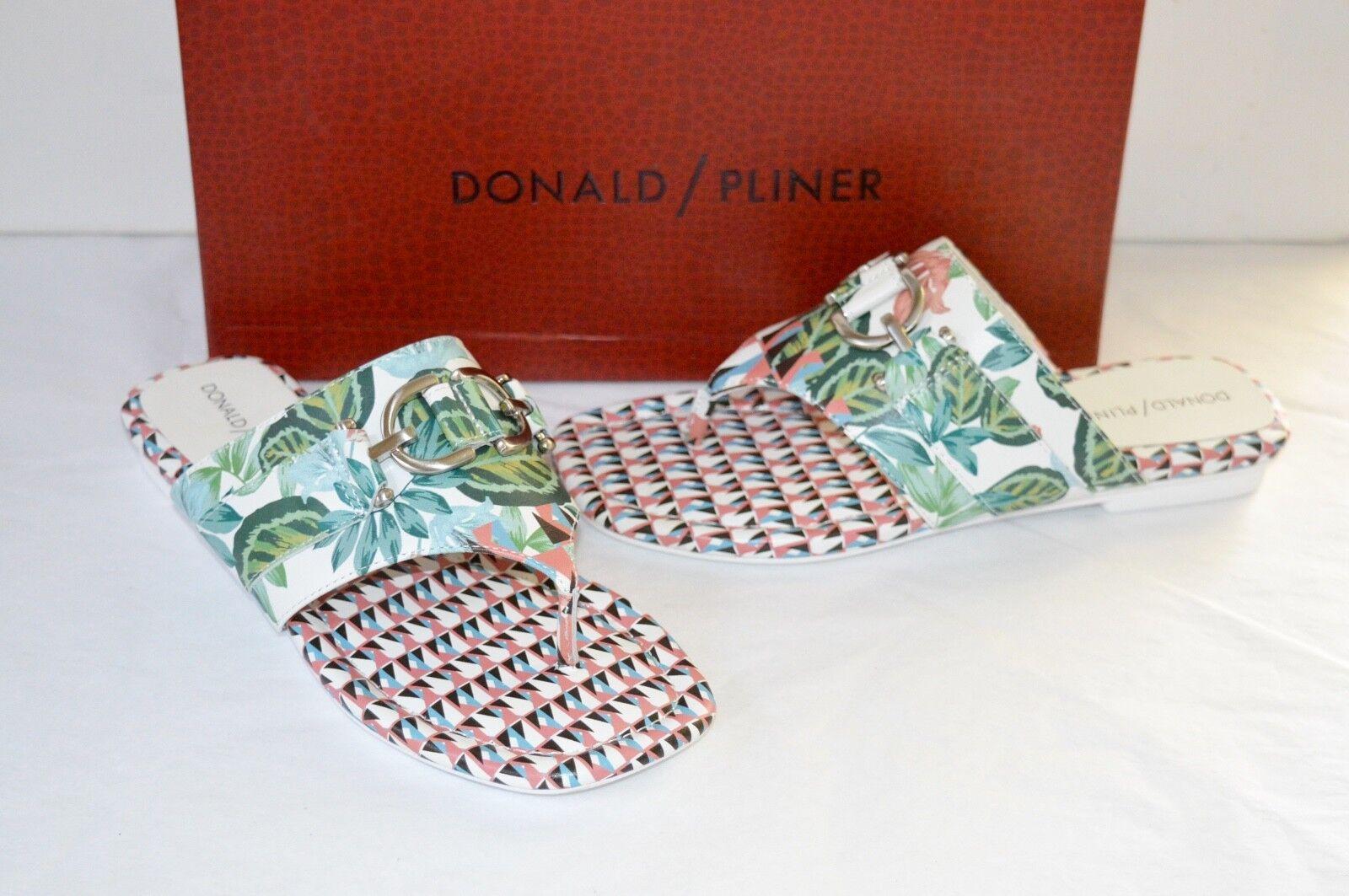 Ny  168 Donald J Pliner Kent vit Nappa läder Geo Jungle Print Thong Sandal