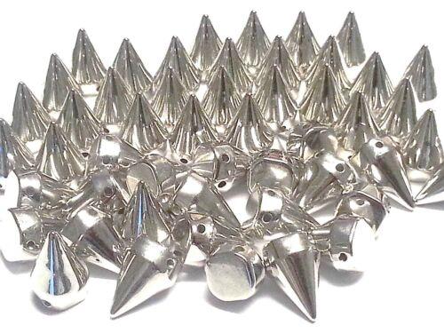 CraftbuddyUS 25pcs 25mm Silver Acrylic Cone Spike sew on stitch on Embellishment