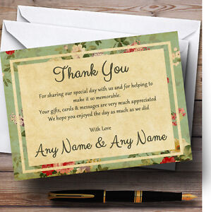 Vintage Shabby Chic Postcard Style Personalised Wedding Thank You