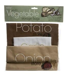 Image Is Loading Vegetable Storage Bags Onion Garlic Potato Cotton Zip