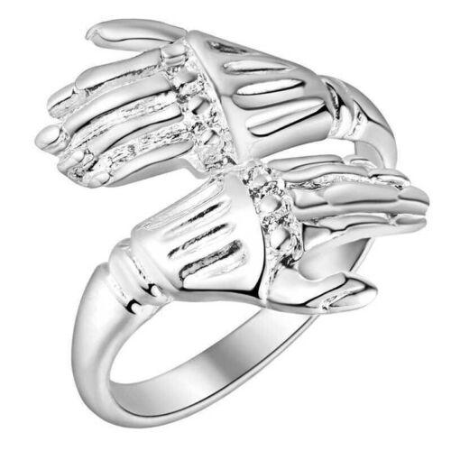 Anillo manos muerto garra plata parca unisex Gothic joyas ajustable//abierta