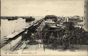 Port-Said-B-r-Sa-d-Agypten-Egypt-AK-1910-General-View-Panorama-Harbor-Hafen