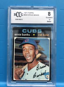 1971-Topps-Ernie-Banks-522-Beckett-Graded-8-RARE