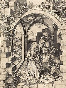 MARTIN-SCHONGAUER-GERMAN-NATIVITY-OLD-ART-PAINTING-POSTER-PRINT-BB6139A