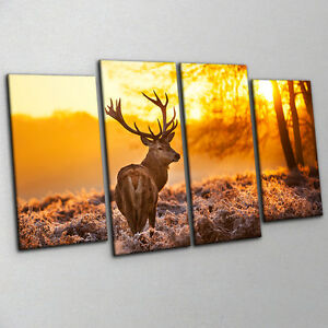 Red-Deer-in-Warm-Sunrise-Large-Contemporary-Split-Canvas-Gold-Wall-Art-Picture