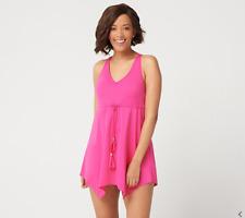 Denim /& Co Beach Handkerchief Hem Swim Dress Black 16 NEW A303729