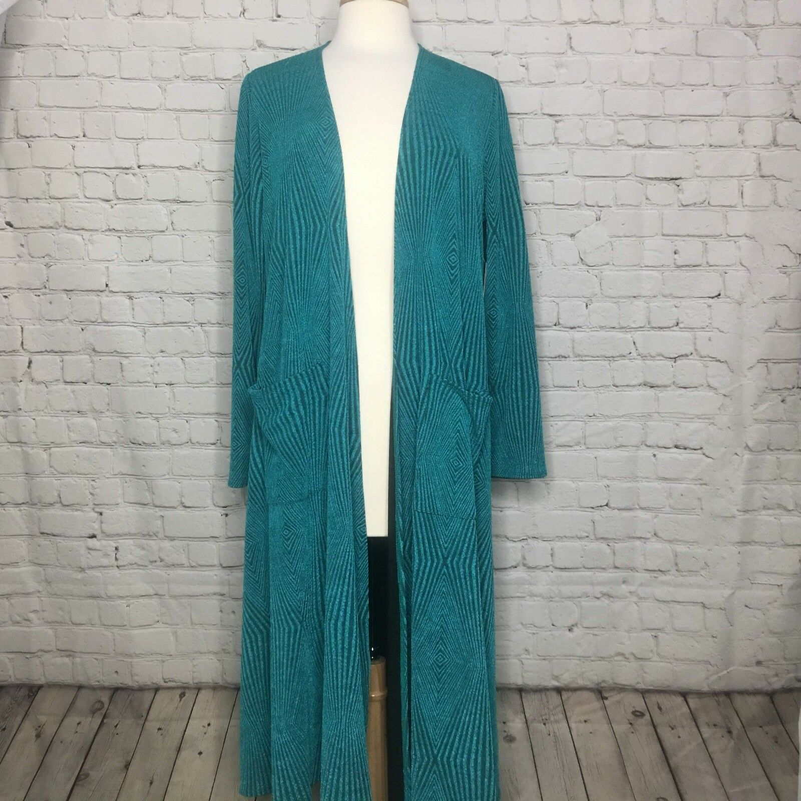 Lularoe Womens Sarah Duster Cardigan Teal S Discounted because of small defect