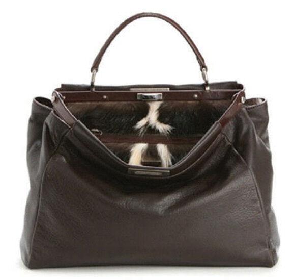 ... uk fendi peekaboo limited edition fur lining satchel bag dark brown 100  authentic 452c2 0d60d b5d423de28d66
