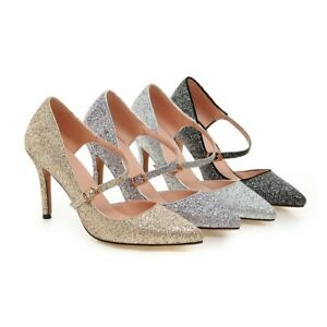 Women-039-s-Mary-Janes-Shiny-Glitter-Sandals-High-Heel-Pointy-Party-Shoes-Pumps-S029