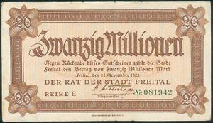 Freital-20-Millionen-Mark-24-Sept-1923-Reihe-E-gruene-6stellige-Kenn-Nr-081942