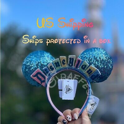 Disney Parks 2020 Disneyland Marquee Sign Mickey Minnie Ears Sequin Headband NWT