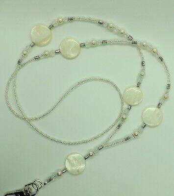 """seashore"" Madreperla Moneta Perline Perle Di Vetro Cordino Id Badge Holder Id Pass-er Of Pearl Coin Beads Glass Beads Id Lanyard Badge Holder Id Pass"" Data-mtsrclang=""it-it"" Href=""#"" Onclick=""return False;"">"