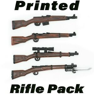 LEGO-Guns-Printed-Rifle-4-Pack-Custom-Sniper-WWII-Wood-Army-Military-Weapon-Lot