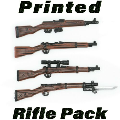 LEGO Guns Printed Rifle 4 Pack Custom Sniper WWII Wood Army Military Weapon Lot