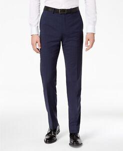 138427b7f $200 CALVIN KLEIN Men's Blue Plaid Wool Slim Fit FLAT FRONT PANTS 35 ...