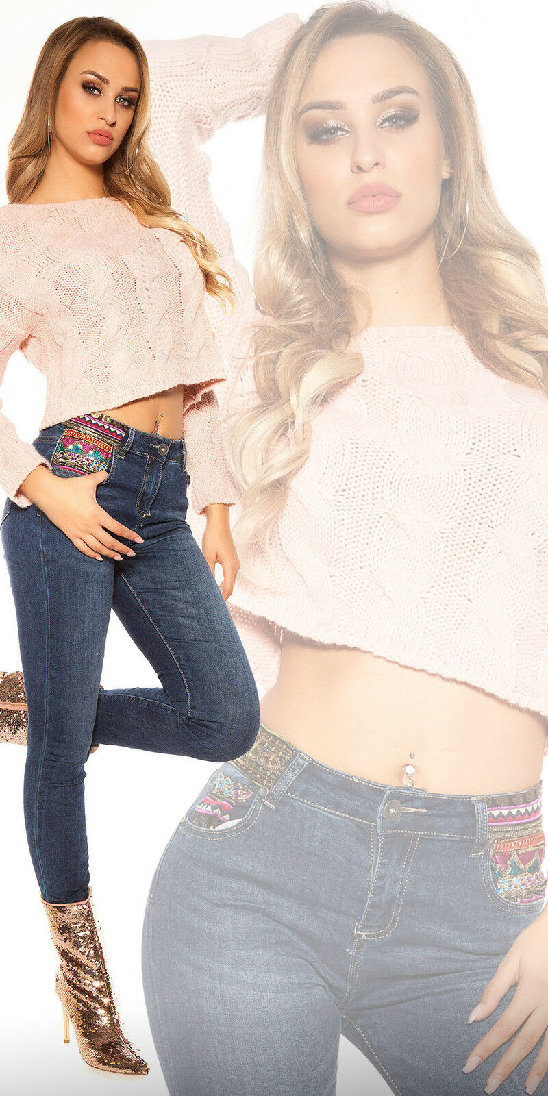 Sexy HIGH-WAIST-Jeans in tubi-style con ricamo e paillettes