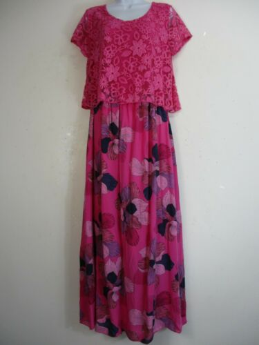 LagenLook 95/% Cotton Summer Dress attached net overtop One size:Regular12-116