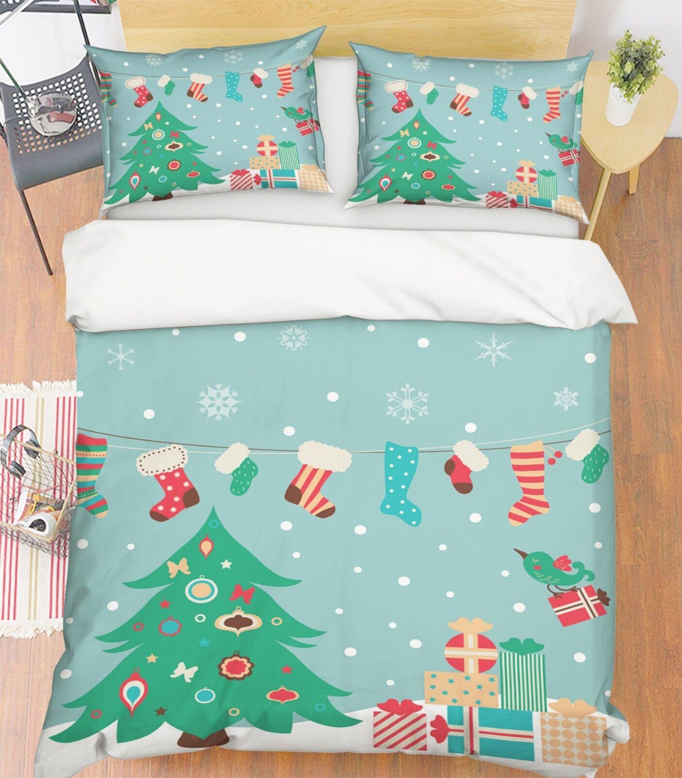 3D Christmas Xmas Tree 45 Bed Pillowcases Quilt Duvet Cover Set Single King UK