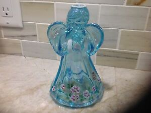 Fenton-iridescent-green-hand-painted-Angel-with-sticker