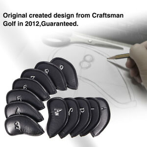 Craftsman-Golf-12pcs-Pu-Leather-Iron-Head-Covers-Set-Headcover-Fit-All-Brands-US