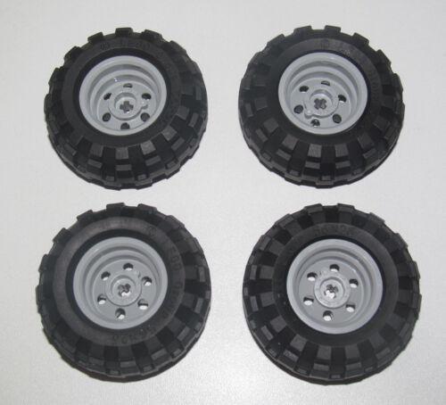 Pneu Tire Truck Wheel 56145 55976 Lego ® Lot x4 Roue Tracteur Jante Grise