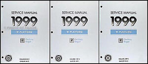 1999 buick regal and century shop manual 3 volume set repair service rh ebay co uk 1999 Buick Regal of Colors 1999 Buick Regal Problems